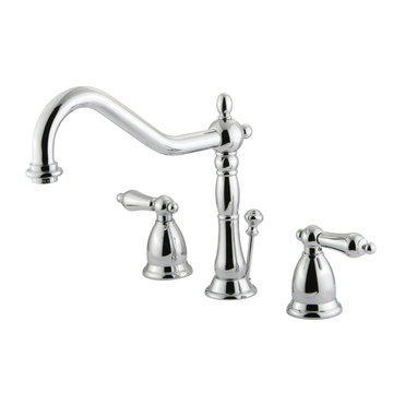 Heritage Widespread Lavatory Faucet With Matching Finish Drain - Metal Lever