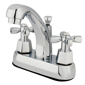 Homestead Twin Handle Centerset Lavatory Faucet With Pop-Up - Hex Cross