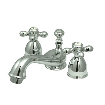 Mini Widespread Lavatory Faucet - 4 - 8 Inch Adjustable Spread - Metal Cross