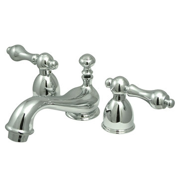 Mini Widespread Lavatory Faucet - 4 - 8 Inch Adjustable Spread - Metal Lever