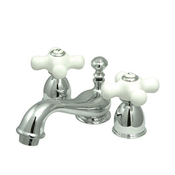 Mini Widespread Lavatory Faucet - 4 - 8 Inch Adjustable Spread - Porcelain Cross