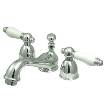 Mini Widespread Lavatory Faucet - 4 - 8 Inch Adjustable Spread - Porcelain Lever