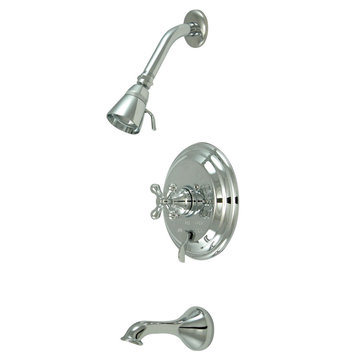 Pressure Balanced Tub/Shower Faucet Set - Metal Cross