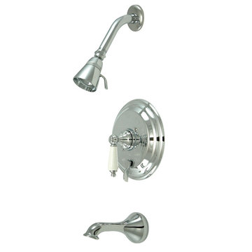 Pressure Balanced Tub/Shower Faucet Set - Porcelain Lever