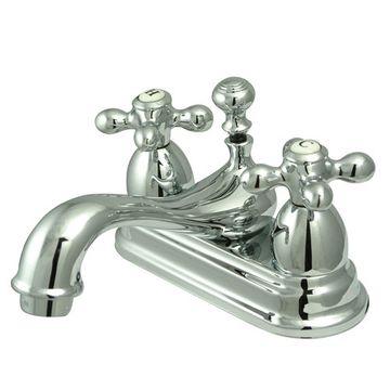 Restoration 4 Inch Centerset Lavatory Faucet - Metal Cross