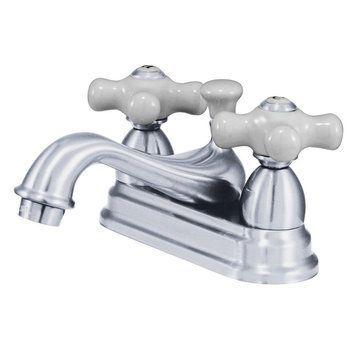 Restoration 4 Inch Centerset Lavatory Faucet - Porcelain Cross