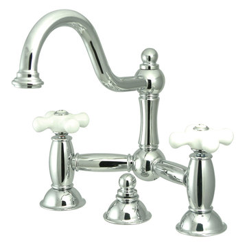 Restoration Lavatory Faucet With 8 Inch Spread - Porcelain Cross