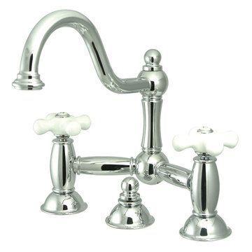 Restorers Restoration Lavatory Faucet - 8 Inch - Porcelain Cross