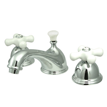Restoration Widespread Lavatory Faucet With 8 - 16 Inch Spread - Porcelain Cross