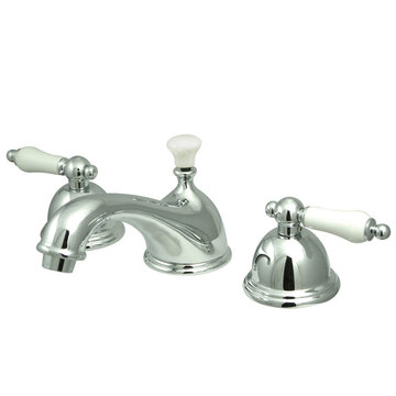 Restoration Widespread Lavatory Faucet With 8 - 16 Inch Spread - Porcelain Lever