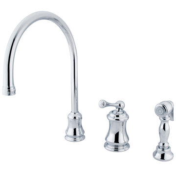 Single Handle Widespread Kitchen Faucet With Brass Sprayer - Buckingham Lever