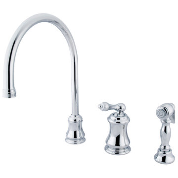 Single Handle Widespread Kitchen Faucet With Brass Sprayer - Metal Lever