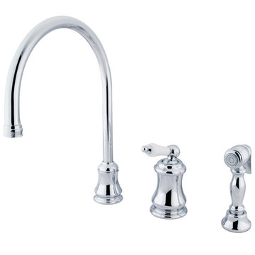 Single Handle Widespread Kitchen Faucet With Brass Sprayer - Porcelain Lever