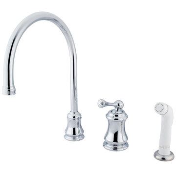 Single Handle Widespread Kitchen Faucet With Plastic Sprayer - Buckingham Lever