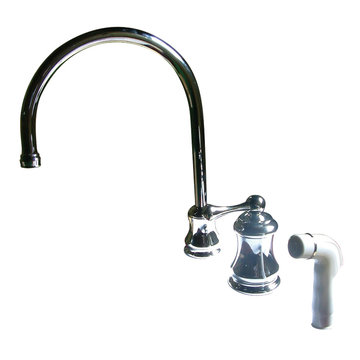 Single Handle Widespread Kitchen Faucet With Plastic Sprayer - Metal Lever