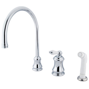 Single Handle Widespread Kitchen Faucet With Plastic Sprayer - Porcelain Lever