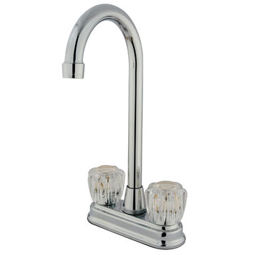 Twin Brass Lever Handles 4 Inch Bar Faucet - Columbia Acrylic Handle