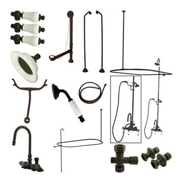 Restorers Hi-Rise Gooseneck Shower Package with Hand Shower includes everything you need to accessorize a claw foot tub.