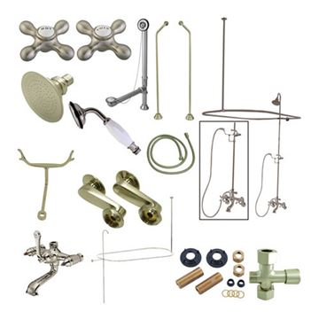 Vintage Shower Package With Double Offset Supply - Metal Cross
