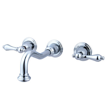 Wall Mount Vessel Sink Lavatory Faucet - Metal Lever