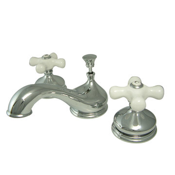 Widespread Lavatory Faucet - Porcelain Cross