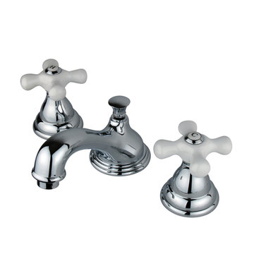 Widespread Lavatory Faucet With 8 - 16 Inch Spread - Porcelain Cross
