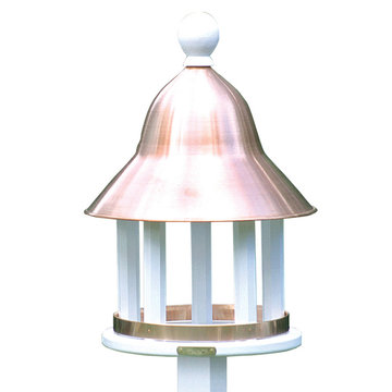 Lazy Hill Farm White Vinyl Bell Bird Feeder With Spun Polished Copper Roof