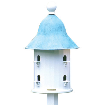 Lazy Hill Farm White Vinyl Bell Birdhouse With Blue Verde Copper Roof