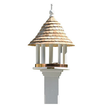 Lazy Hill Farm White Vinyl Bird Feeder With Natural Redwood Shingle Roof