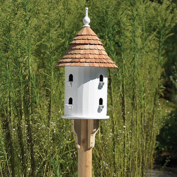 Lazy Hill Farm White Vinyl Birdhouse With Natural Redwood Shingle Roof