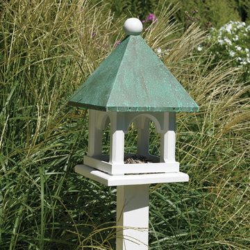 Lazy Hill Farm White Vinyl Carousel Bird Feeder With Blue Verde Copper Roof
