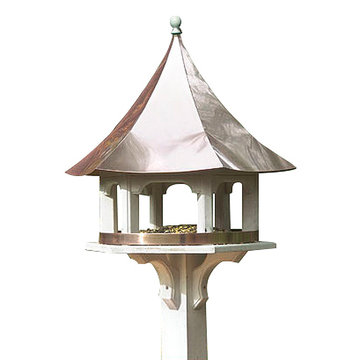 Lazy Hill Farm White Vinyl Carousel Bird Feeder With Polished Copper Roof