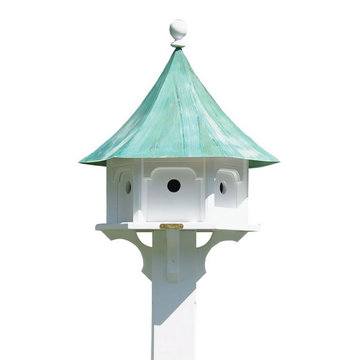 Lazy Hill Farm White Vinyl Carousel Birdhouse With Blue Verde Copper Roof