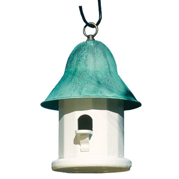 Lazy Hill Farm White Vinyl Copper Top Birdhouse With Polished Copper Roof And Metal Loop