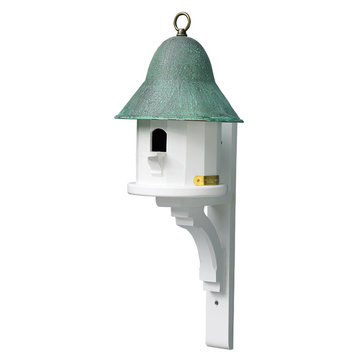 Lazy Hill Farm White Vinyl Copper Top Birdhouse With Spun Blue Verde Copper Roof