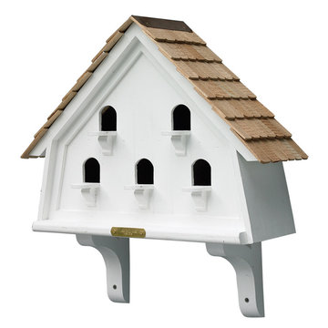 Lazy Hill Farm White Vinyl Flat Birdhouse With Natural Redwood Shingle Roof