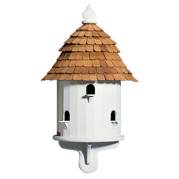 Lazy Hill Farm White Vinyl Half Birdhouse With Natural Redwood Shingle Roof