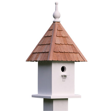 Lazy Hill Farm White Vinyl Loretta Bird Feeder With Natural Redwood Shingle Roof