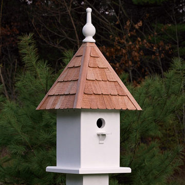 Lazy Hill Farm White Vinyl Loretta Birdhouse With Natural Redwood Shingle Roof