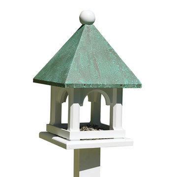 Lazy Hill Farm White Vinyl Mini Bird Feeder With Blue Verde Copper Roof