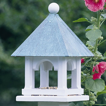 Lazy Hill Farm White Vinyl Mini Bird Feeder With Polished Copper Roof