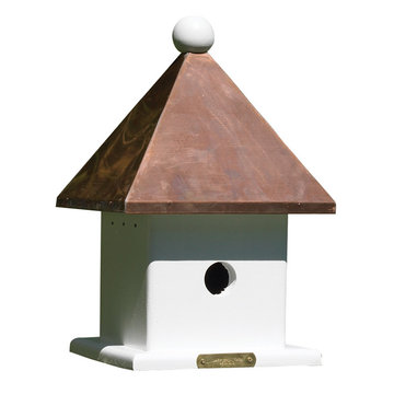Lazy Hill Farm White Vinyl Mini Birdhouse With Polished Copper Roof