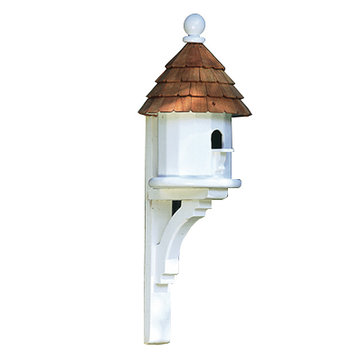 Lazy Hill Farm White Vinyl Small Shingled Birdhouse With Natural Redwood Roof