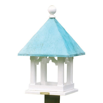 Lazy Hill Farm White Vinyl Square Bird Feeder With Blue Verde Copper Roof