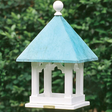 Lazy Hill Farm White Vinyl Square Bird Feeder With Polished Copper Roof