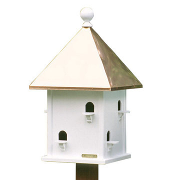 Lazy Hill Farm White Vinyl Square Birdhouse With Polished Copper Roof