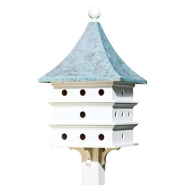 Lazy Hill Farm White Vinyl Ultimate Martin Birdhouse With Blue Verde Copper Roof