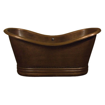 Barclay Amara Double Slipper Copper Tub - No Faucet Holes