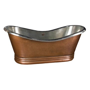 Barclay Ankara Double Slipper Copper Tub With Nickel Interior - No Faucet Holes