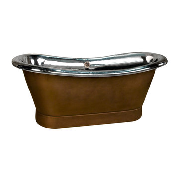 Barclay Barlow Double Slipper Copper Tub With Nickel Interior - No Faucet Holes